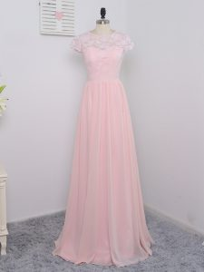 Traditional Floor Length Zipper Quinceanera Dama Dress Baby Pink for Prom and Party and Wedding Party with Lace
