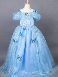 Light Blue Tulle Side Zipper Off The Shoulder Short Sleeves Floor Length Kids Pageant Dress Appliques