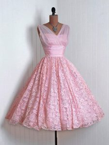 A-line Quinceanera Dama Dress Baby Pink V-neck Lace Sleeveless Mini Length Lace Up