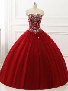 Hot Sale Tulle Sleeveless Floor Length Sweet 16 Dress and Beading