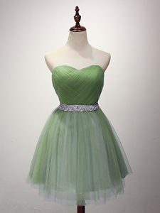 Captivating A-line Vestidos de Damas Green Sweetheart Tulle Sleeveless Mini Length Lace Up