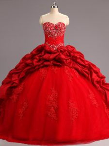 Romantic Lace Up Quince Ball Gowns Red for Military Ball and Sweet 16 and Quinceanera with Beading and Appliques and Pick Ups Court Train