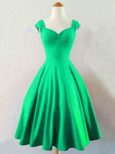 Taffeta Sleeveless Mini Length Vestidos de Damas and Ruching