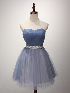 Tulle Sweetheart Sleeveless Lace Up Beading and Ruching Dama Dress in Blue