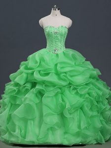Fabulous Organza Sweetheart Sleeveless Lace Up Beading and Ruffles and Pick Ups Quinceanera Dress in