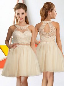A-line Dama Dress Champagne Halter Top Tulle Sleeveless Knee Length Zipper