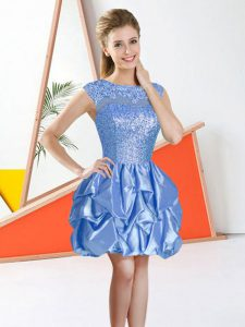 Beading and Lace and Ruffles Quinceanera Dama Dress Baby Blue Backless Sleeveless Knee Length