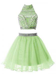 Yellow Green A-line High-neck Sleeveless Organza Knee Length Zipper Beading Dama Dress