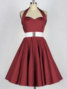 Burgundy Halter Top Neckline Belt Damas Dress Sleeveless Lace Up