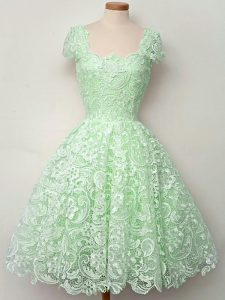Apple Green Quinceanera Dama Dress Prom and Party and Wedding Party with Lace Straps Cap Sleeves Lace Up