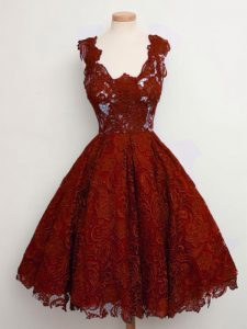 Extravagant Rust Red A-line Straps Sleeveless Lace Knee Length Lace Up Lace Dama Dress for Quinceanera