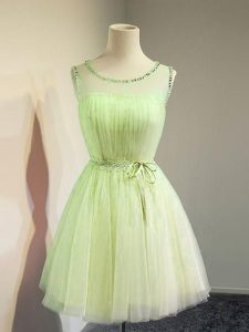 New Arrival Yellow Green Vestidos de Damas Prom and Party and Wedding Party with Belt Scoop Sleeveless Lace Up