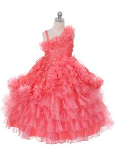 New Style Watermelon Red Little Girl Pageant Gowns Wedding Party with Lace and Ruffles and Ruffled Layers Asymmetric Sleeveless Lace Up