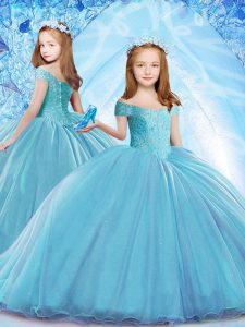 Stunning Cap Sleeves Beading Lace Up Child Pageant Dress with Baby Blue Brush Train