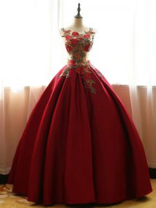 Romantic Sleeveless Taffeta Floor Length Lace Up Quinceanera Dress in Wine Red with Appliques