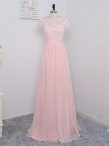 Pretty Baby Pink Zipper Damas Dress Lace Cap Sleeves Floor Length