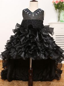 Black Sleeveless Organza Zipper Little Girl Pageant Gowns for Wedding Party