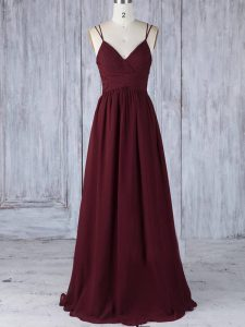 Suitable Straps Sleeveless Zipper Dama Dress for Quinceanera Burgundy Chiffon