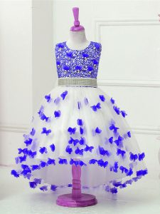 Blue And White Sleeveless High Low Appliques and Sequins Zipper Kids Pageant Dress