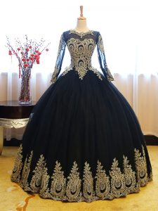 Clearance Long Sleeves Appliques Lace Up Quinceanera Dress