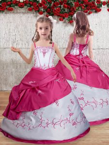 Ball Gowns Girls Pageant Dresses Hot Pink Straps Taffeta Sleeveless Floor Length Lace Up