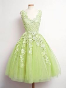 Superior A-line Quinceanera Dama Dress Yellow Green V-neck Tulle Sleeveless Knee Length Lace Up