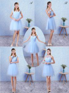 Fitting Blue Tulle Lace Up Quinceanera Court Dresses Sleeveless Knee Length Ruching