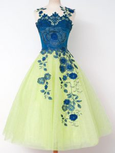 Sweet Yellow Green Straps Zipper Appliques Court Dresses for Sweet 16 Sleeveless