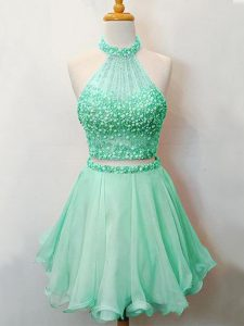 Fantastic Knee Length Lace Up Vestidos de Damas Apple Green for Prom and Party and Wedding Party with Beading