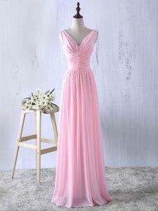 Pretty Baby Pink Zipper V-neck Ruching Dama Dress Chiffon Sleeveless