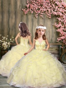 Floor Length Lace Up Little Girls Pageant Dress Light Yellow for Wedding Party with Beading and Ruffles