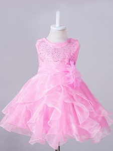 Nice Sleeveless Organza Knee Length Zipper Little Girls Pageant Gowns in Rose Pink with Beading and Hand Made Flower