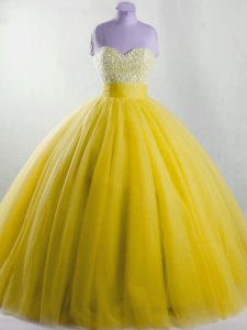 Edgy Ball Gowns Vestidos de Quinceanera Yellow Strapless Tulle Sleeveless Floor Length Lace Up