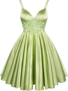 Elegant Yellow Green Elastic Woven Satin Lace Up Spaghetti Straps Sleeveless Knee Length Vestidos de Damas Lace