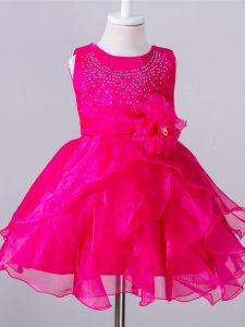 Sleeveless Beading and Hand Made Flower Zipper Little Girls Pageant Dress