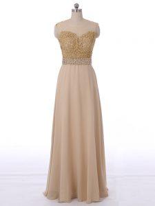 New Style Sleeveless Floor Length Beading Zipper Dama Dress with Champagne