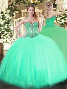 Chic Aqua Blue Ball Gowns Sweetheart Sleeveless Tulle Floor Length Lace Up Beading Quinceanera Dresses