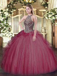 Burgundy Lace Up Sweet 16 Dresses Beading Sleeveless Floor Length