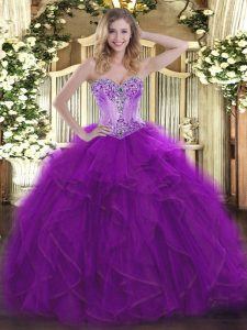 Sweetheart Sleeveless 15th Birthday Dress Floor Length Beading and Ruffles Eggplant Purple Organza
