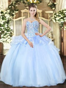 Graceful Floor Length Lace Up Sweet 16 Quinceanera Dress Light Blue for Military Ball and Sweet 16 and Quinceanera with Beading