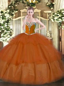 Super Sweetheart Sleeveless Lace Up Sweet 16 Quinceanera Dress Rust Red Tulle