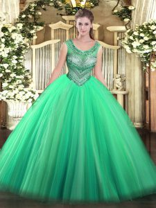 Ideal Turquoise Scoop Lace Up Beading Quinceanera Gowns Sleeveless