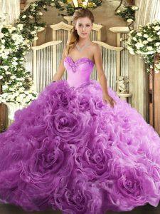 Artistic Lilac Quinceanera Dresses Sweet 16 and Quinceanera with Beading Sweetheart Sleeveless Lace Up