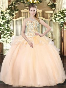 Sweetheart Sleeveless Organza Quinceanera Dress Beading Lace Up