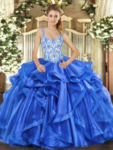 Floor Length Blue Quinceanera Dress Organza Sleeveless Beading and Ruffles