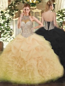 Champagne Halter Top Neckline Beading and Ruffles and Pick Ups Quince Ball Gowns Sleeveless Lace Up