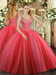 Coral Red Sleeveless Tulle Lace Up Ball Gown Prom Dress for Military Ball and Sweet 16 and Quinceanera