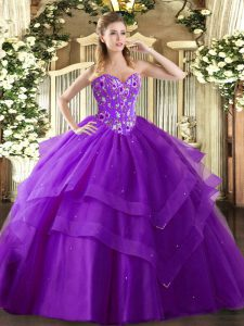 Custom Made Eggplant Purple Sweetheart Neckline Embroidery and Ruffled Layers Ball Gown Prom Dress Sleeveless Lace Up