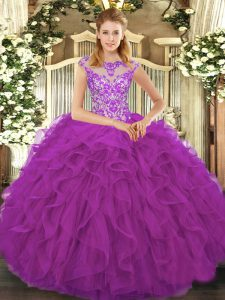 Eggplant Purple Ball Gowns Beading and Ruffles Quince Ball Gowns Lace Up Organza Cap Sleeves Floor Length