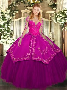 Fuchsia Long Sleeves Organza and Taffeta Lace Up Quinceanera Gowns for Military Ball and Sweet 16 and Quinceanera